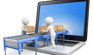 3D white people. Delivering packages through a laptop screen