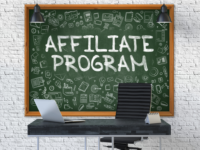 Affiliate Program Concept. Doodle Icons on Chalkboard.