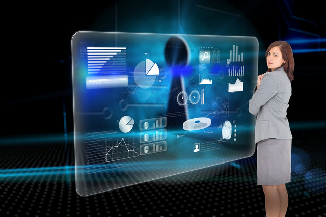 Focused businesswoman against keyhole on technological background
