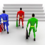 3d superheros holding briefcase and walking to higher level step concept