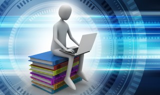 Man sitting on top of books while using laptop in color background