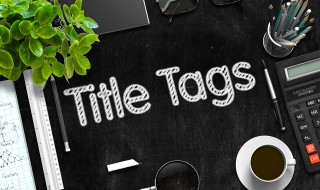 Title Tags on Black Chalkboard. 3D Rendering.
