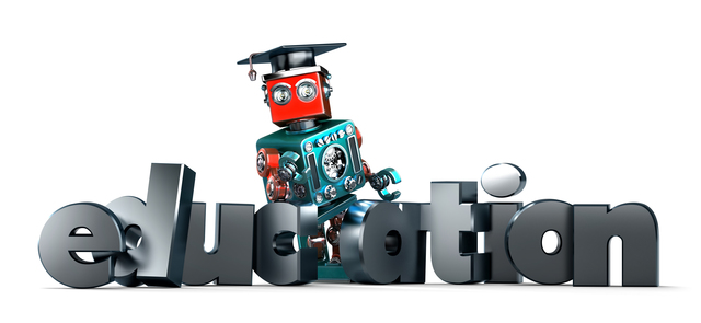 Retro robot with EDUCATION sign. Isolated. Contains clipping path