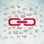 Web development concept: Link on Digital Data Paper background