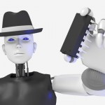 Female hacker black hat robot holding a chip