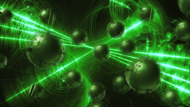 green Molecular geometric chaos abstract structure. Science technology network connection hi-tech background 3d rendering illustration