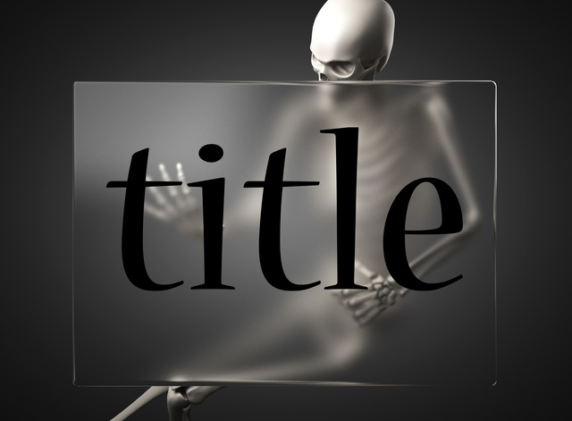 title word on glass and skeleton
