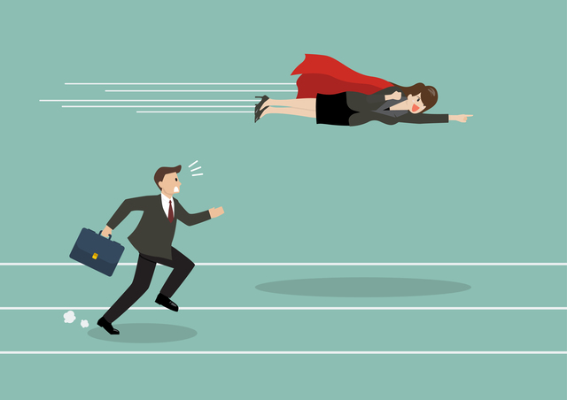 Business woman superhero fly pass his competitor