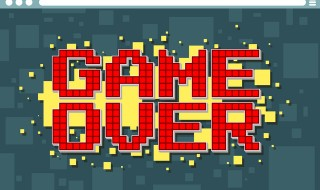 Pixel computer game over screen on display