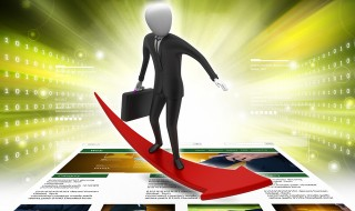 Business man standing on a successive arrow in colour back ground